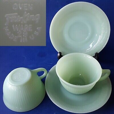 2 Sets Fire-King Oven Ware JANE RAY Green Jadeite Ribbed Milkglass Cup & Saucers