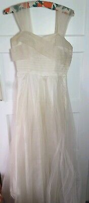 Vintage Art Deco 1930s 40s Tulle Net Ivory Strap Wedding Dress Small 8-10 Romney
