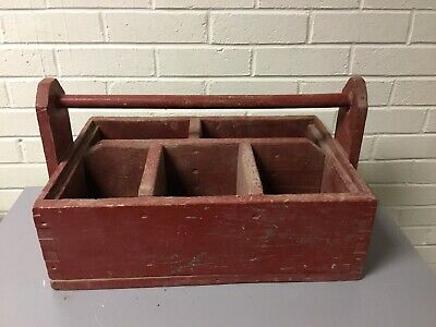 """Large Primitive 5 Cubby Painted Wood Tool Box With Handle Vtg 22 X 14"""" Antique"""