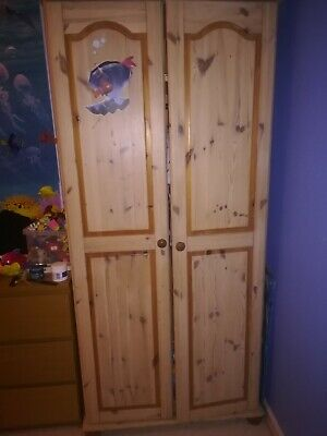 Pine wardrobe and chest of drawers used