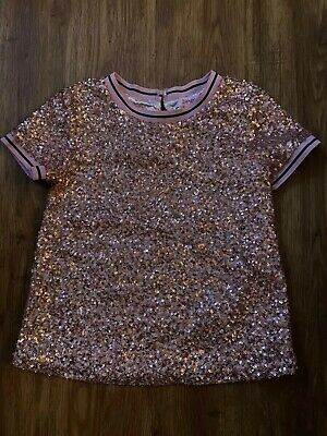 Ted Baker Rose Gold Sequin Top T Shirt Age 7-8-9