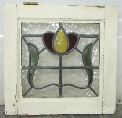 "OLD ENGLISH LEADED STAINED GLASS WINDOW Pretty Little Floral 16.25"" x 15.75"""