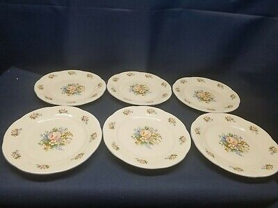 Vintage Tabletops Unlimited TAU71 Set/6 Dinner Plates Victorian Rose Design Nice