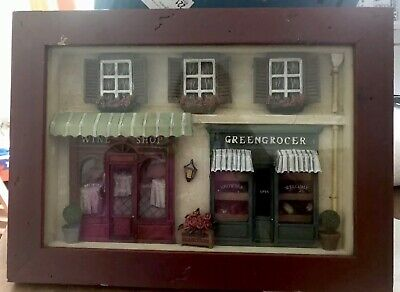 WINE GREENGROCER STOREFRONT Vintage 3D Diorama Shadow Box Scene Wall Hanging