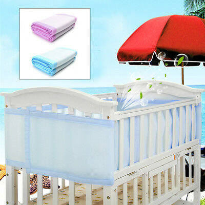 2Pcs Breathable Baby Mesh Cot Bumper Crib Airflow Pad Nursery Protector Bedding