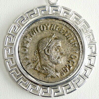 PHILIP I Silver Tetradrachm Ancient Roman Coin Sterling Pendant, S.Steel Chain