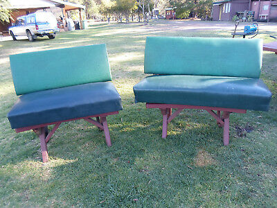 VERY OLD SRA NSW  Railway Seats (Rattler) -1940/1950 - 1 x 2seater + 1 x 3seater