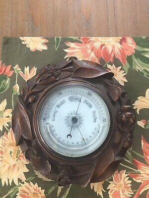 Antique Victorian Hand Carved Black Forest Barometer thermometer Leaves & Flower