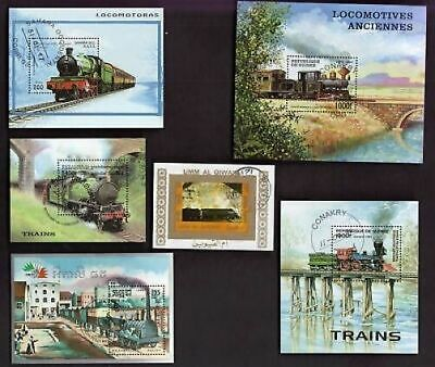 10 All Different  Train Steam Engines  Souvenir Sheets