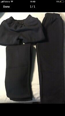 3 Pairs Navy Blue School Track Pants - Size 8