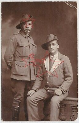 Studio Portrait real photo postcard of two Australian soldiers AIF WWI OLD
