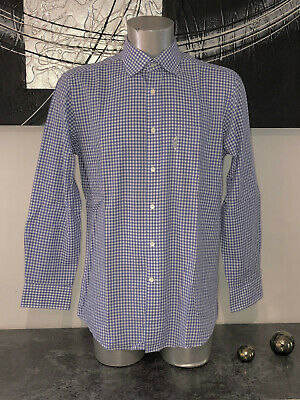 Pretty Shirt Blue Chequered Gingham Façonnable Club Size 42 16 1/2