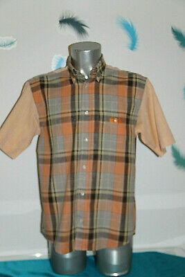 Pretty Sports Shirt Chequered Salmon Man serge blanco Size L like New