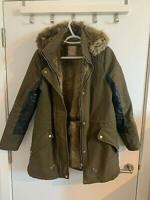 ZARA Fur Lined Parka Coat Jacket - Faux Leather - Size S - Good Great Condition