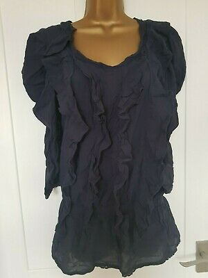 New  Ladies Girls Next Navy Blue Frill  Top Size  6