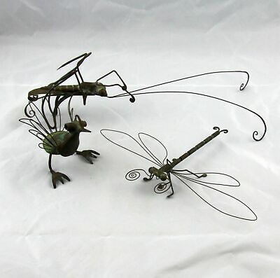 3 Large Artisan Made Copper Insects Bugs Creatures Dragonfly & Grasshopper
