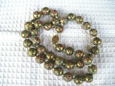 Vintage Chinese hand painted floral gold large porcelain bead necklace RARE