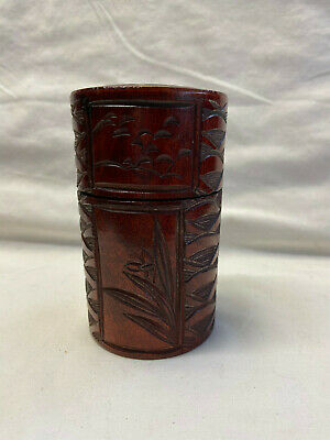 Vtg Beautiful Wooden Handcarved Cylindrical Trinket Container Detailed Carvings