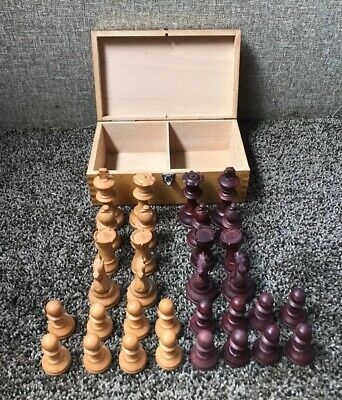 Vintage Hand Carved Wooden Chess Set Weighted Felt France Original Box Complete