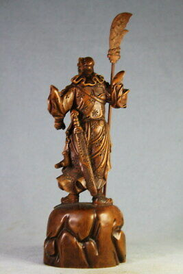 Handwork Decor Precious Boxwood Carved General Takes Broadsword Exquisite Statue