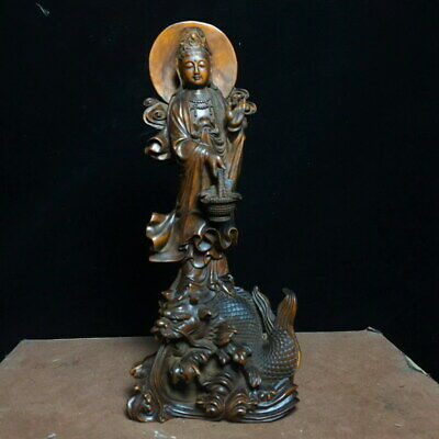 Decorative Auspicious Boxwood Carved Guanyin Has Disk Its Head Exquisite Statue