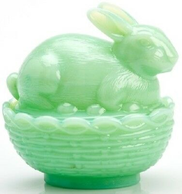 Bunny Rabbit on Basket Dish - Jade Jadite Jadeite Green Glass - Mosser USA