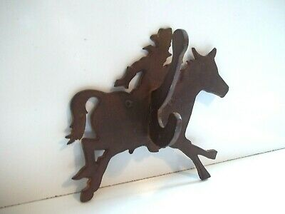 TWO'S COMPANY Metal Western Cowboy on Horse SouthWest Rodeo Coat Hat Wall Hook