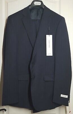 Calvin Klein Men's Slim Fit Suit Seperates Navy Jacket 42L Navy Pant 34x32 NWT