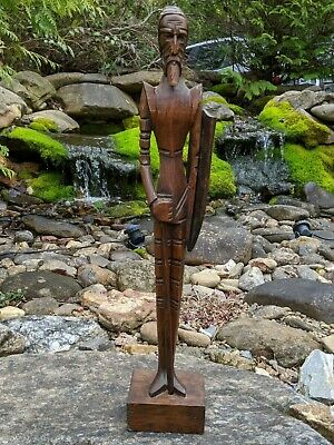 """Hand-Carved Wood 17"""" Spanish Knight Armour Shield Sculpture/Statuette - Mexico"""