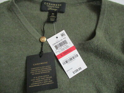 NWT Charter Club Women's XS LUXURY Cashmere Boat Neck Pull over Olive Green