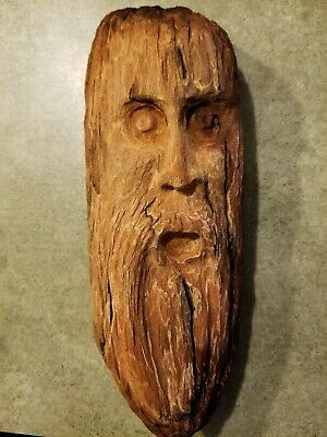 Hand Carved Drift Wood Art Spirit Ornament Gnome Tree Face Sasquatch Carving