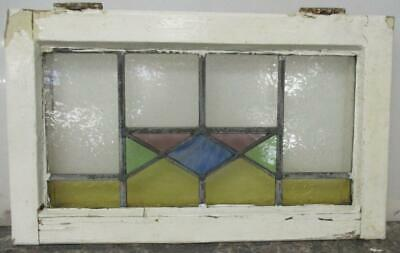 "OLD ENGLISH LEADED STAINED GLASS WINDOW Pretty Colorful Geometric 21.75"" x 13.5"""