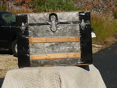 Antique Trunk  Embossed Tin   Original Tray  Beautiful Restoration!