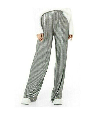 BE BOP Juniors' Pleated Metallic Silver Pull On Pants Size Medium $44