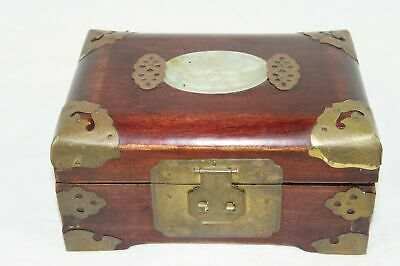 Vtg Chinese Red Lacquered Wood Musical Jewelry Box Carved Jade & Brass Accents