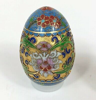 Antique Chinese Cloisonne Gold Egg Raised Metal Floral Green Blue Gold Vintage
