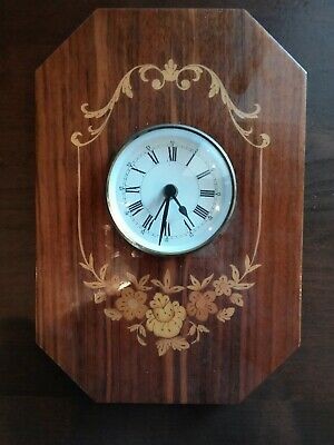 Vintage RARE INLAID Wood MARQUETRY Clock Made in ITALY Scrolls and Flowers