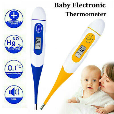 Digital Medical LCD Flexible Tip Thermometer Baby Adult Oral Mouth Rectal Audibl