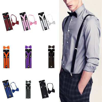 Men's clip-on suspenders Y back and Bow Tie Retro Steampunk Costume Tux Prom
