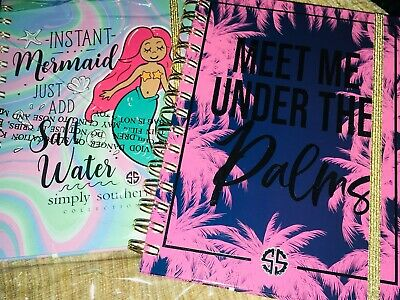 """Simply Southern 2 Set New Notebooks Lined 6x8"""" 80 Sheets ~ Palms & Mermaid 2 Set"""
