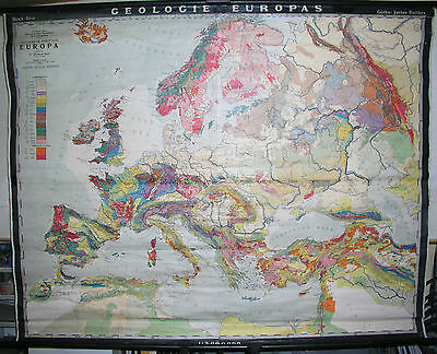 Schulwandkarte Beautiful Old Europakarte Geology Europe 1941 197x156cm Vintage