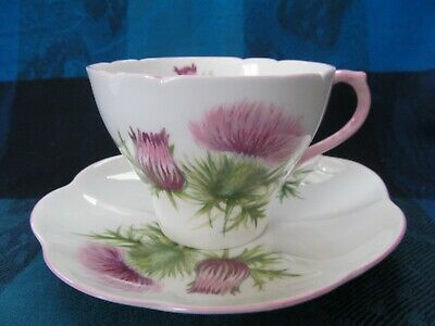 Shelley Bone China, England, Thistle Pattern-Pink Trim, Cup & Saucer - Vgc