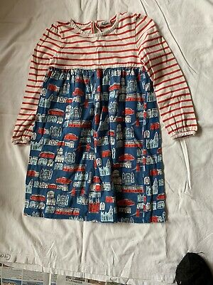mini boden girls 5-6 dress. Jersey red  & blue stripes & buildings. Long Sleeves