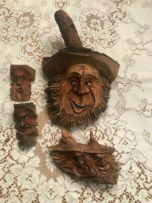 4 - Vintage Black Forest Wood Carvings Mens Faces Head German Wall  Hanging