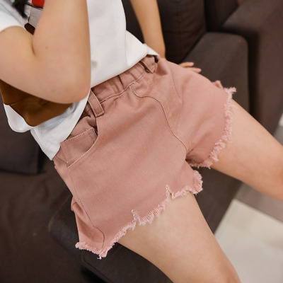 Children Summer Pants Girls Cotton Ripped Denim Jeans Plain Color Short Bottoms