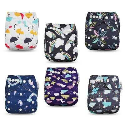 Tgq Kidz 6 Reusable Newborn Cloth Diapers With 6 Inserts