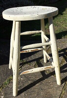 "Old Vintage Industrial White Painted Shabby Chic Kitchen Workmans Stool 24"" Tall"