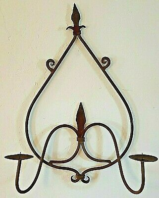 Wall Sconce Candle Holder - Wrought Iron Hand Forged Rustic Architectural Decor