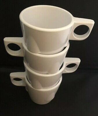 Retro Look Thunder Group Inc MELAMINE White Stackable Cups Mugs Camping EUC