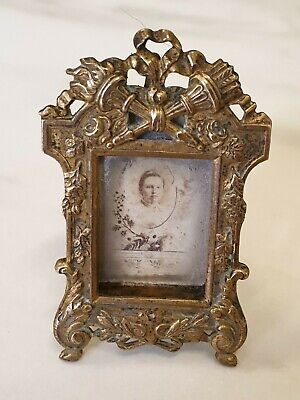 antique small ornate  brass PICTURE FRAME